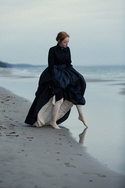 Magdalena Russocka victorian woman on beach dipping toe Women