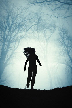 Magdalena Russocka silhouette of modern woman running in woods