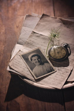 Magdalena Wasiczek Vintage photograph and pocket watch on handwritten letter