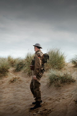 Matilda Delves WWI soldier on sand dunes