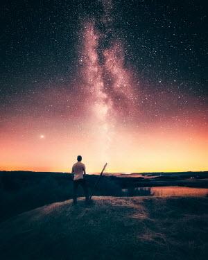 David Keochkerian MAN ON HAYSTACK WATCHING STARRY SKY Men