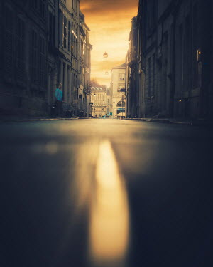 David Keochkerian WOMAN IN CITY STREET AT SUNSET Women