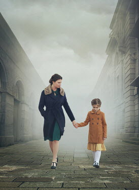 Mark Owen RETRO MOTHER DAUGHTER HOLDING HANDS IN FOGGY CITY Children