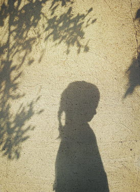 Mark Owen SHADOW OF LITTLE GIRL AND TREE ON SUNLIT WALL Children