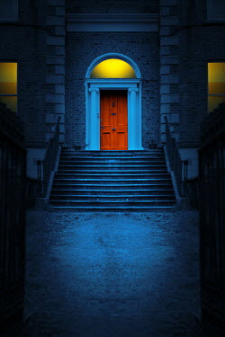 Magdalena Russocka DOOR AND LIGHTS OF HISTORICAL HOUSE AT DUSK Houses