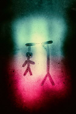 Magdalena Russocka dead man hanging on gallows drawn on steamy window