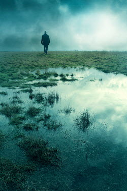 Silas Manhood SILHOUETTED MAN WALKING IN MARSHY FIELD Men
