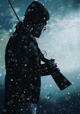 Ysbrand Cosijn MAN HOLDING RIFLE OVER SHOULDER IN SNOW Men