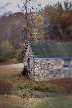 Lisa Bonowicz STONE BUILDING WITH AUTUMN TREES IN COUNTRYSIDE Houses