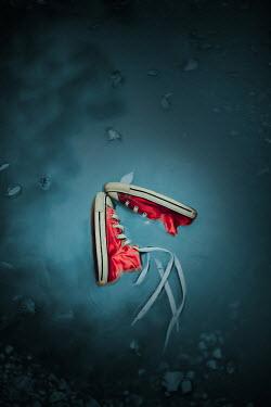 Ildiko Neer Child's red sneakers in pond