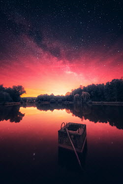 David Keochkerian LAKE AT SUNSET WITH STONE BLOCK Lakes/Rivers