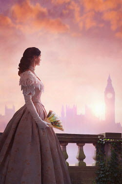 Lee Avison HISTORICAL WOMAN WITH FAN WATCHING BIG BEN AT SUNSET Women