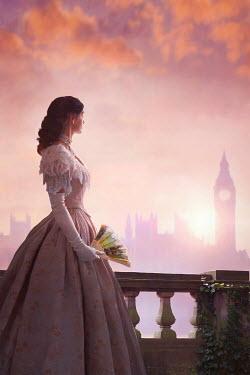 Lee Avison Victorian woman in London sunset