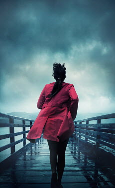 Silas Manhood WOMAN IN RED COAT RUNNING ON JETTY Women