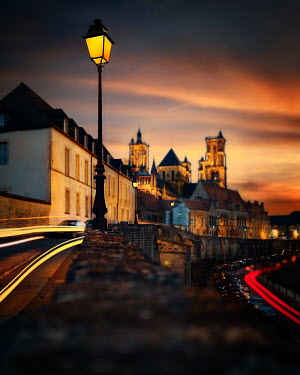 David Keochkerian Street light in city at sunset