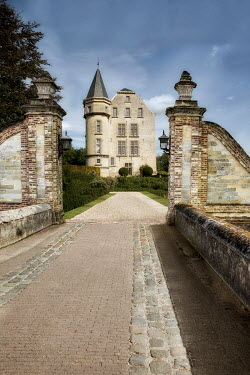 Ayal Ardon CHATEAU WITH BRIDGE AND GATEPOSTS Houses