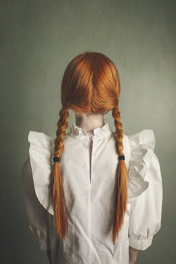 Anna Buczek Girl with red hair in pigtails from behind
