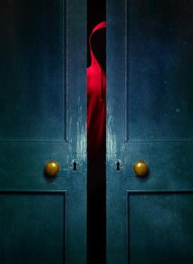 Magdalena Russocka man wearing red hoodie standing behind ajar door