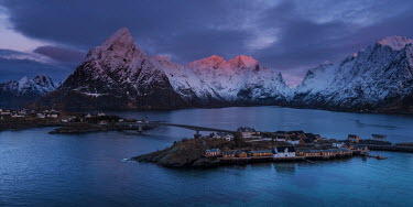 Ollie Taylor Mountains at sunset in Hamnoy, Lofoten Islands, Norway