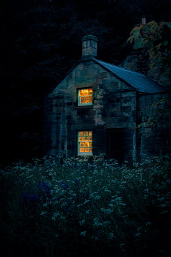 Nic Skerten LIGHTS IN WINDOWS OF COTTAGE AT NIGHT Houses