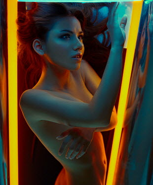 Rafael Sanchez Garcia NAKED WOMAN WITH YELLOW NEON LIGHTS Women