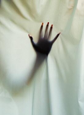 Rafael Sanchez Garcia FEMALE HAND BEHIND WHITE CURTAIN Women