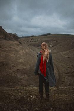Shelley Richmond BLONDE GIRL STANDING IN WINTRY COUNTRYSIDE Women