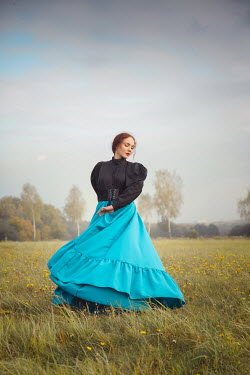 Joanna Czogala HISTORICAL WOMAN WITH FLOWING SKIRT IN COUNTRYSIDE Women