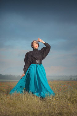Joanna Czogala HISTORICAL WOMAN WATCHING SKY IN COUNTRYSIDE Women