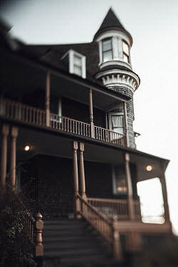 Lisa Bonowicz HOUSE WITH BALCONY AND TURRET AT DUSK Houses