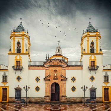Evelina Kremsdorf EXTERIOR OF SPANISH CHURCH WITH STORMY SKY Religious Buildings