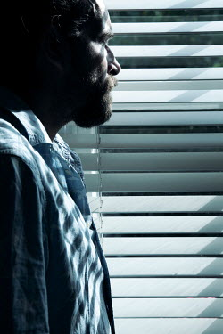 Miguel Sobreira MAN WITH BEARD WATCHING AT WINDOW WITH BLINDS Men