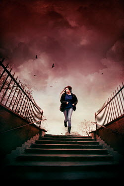 Silas Manhood GIRL RUNNING DOWN STEPS WITH STORMY SKY Women
