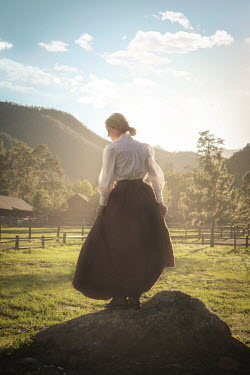 Buffy Cooper HISTORICAL WOMAN ON ROCK IN SUMMERY COUNTRYSIDE Women