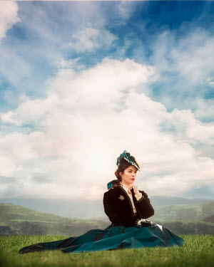 Elisabeth Ansley HISTORICAL WOMAN SITTING IN SUMMERY COUNTRYSIDE Women