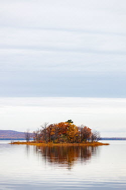 Isabelle Lafrance ISLAND WITH AUTUMN TREES IN LAKE Lakes/Rivers