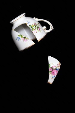 Alison Archinuk broken vintage white porcelain teacup with pink rose pattern on black background