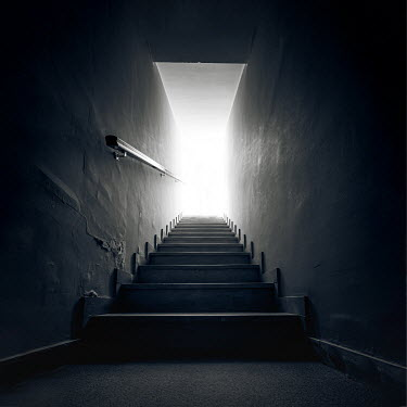 Paolo Martinez EMPTY STAIRCASE IN SHADOW WITH SHINING LIGHT Stairs/Steps