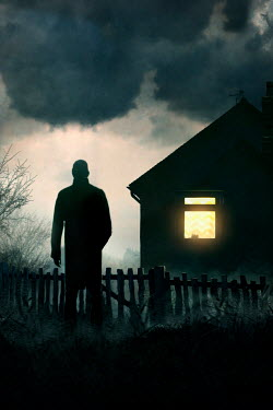 Lee Avison SILHOUETTED MAN WATCHING LIGHT IN HOUSE AT NIGHT Men