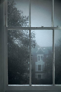 Miguel Sobreira House and Trees in Fog Viewed Through Window