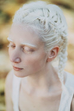Jovana Rikalo Portrait of albino young woman with eyes closed