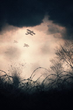 Lee Avison Bi-planes flying over battlefield