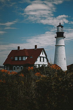 Lisa Bonowicz Lighthouse and shrubs in Portland, USA
