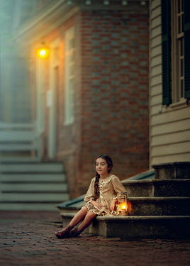 Lilia Alvarado Girl with lantern sitting on steps