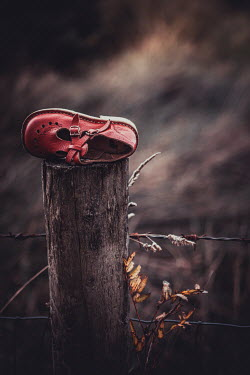 Marie Carr Child's red shoe discarded on wooden post