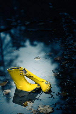 Magdalena Russocka Child's yellow Wellington boots abandoned in puddle