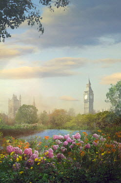 Drunaa LONDON PARK WITH FLOWERS AND BIG BEN Miscellaneous Cities/Towns
