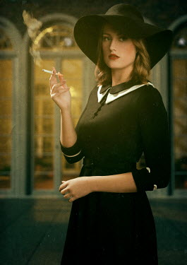 Ysbrand Cosijn RETRO WOMAN IN HAT SMOKING OUTSIDE BUILDING Women