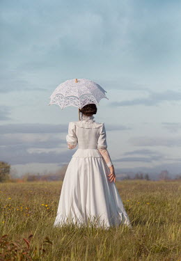 Joanna Czogala WOMAN IN WHITE WITH PARASOL IN SUMMERY COUNTRYSIDE Women