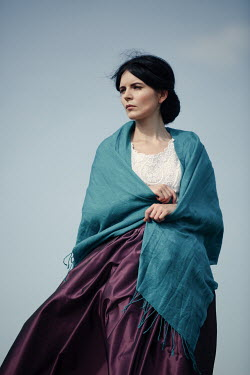 Magdalena Russocka historical woman wrapped in shawl standing outside Women